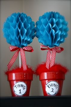 Thing 1 and Thing 2 Topiaries. Simple to make. Fun to display!