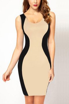 Black Beige Two Tone Sexy Bodycon Dress #Black #Dress #maykool