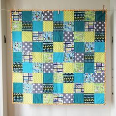 BABY QUILT Modern Space Invaders