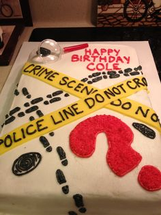 Cole's murder mystery birthday cake, made by a friend