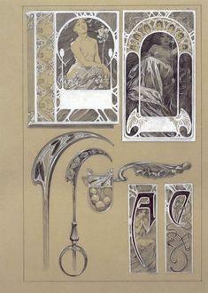 Alphonse Mucha - Documents décoratifs: final study for Plate 43 (1901-1902)