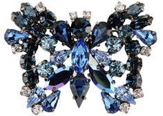 Broche papillion en stass bleu, blanc, noir, Lisa C Bijoux