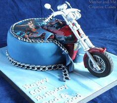 Custom Motorbike - Cake by Mother and Me Creative Cakes Motorcycle Birthday Cakes, Motorcycle Cake, Motocross Cake, 60th Birthday Cake For Men, Dessert Table Birthday, 4th Birthday, Harley Davidson Cake, Harley Davidson Birthday, Motor Cake