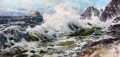 (North Korea) Breaking Surf, seaside Mt Geumgang by Kim Seong-geun (1945-  ). 김성근.
