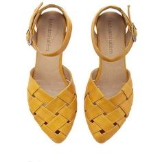 Memorial Day Yellow Braided Handmade Leather Flat Sandals Sophie by... (£105) ❤ liked on Polyvore featuring shoes, sandals, flats, zapatos, footwear, black, women's shoes, braided leather sandals, black flat shoes and black flat sandals