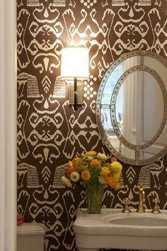 love the wallpaper for the powder room!  FOUND IT!!!!! Quadrille - China Seas - Bali II