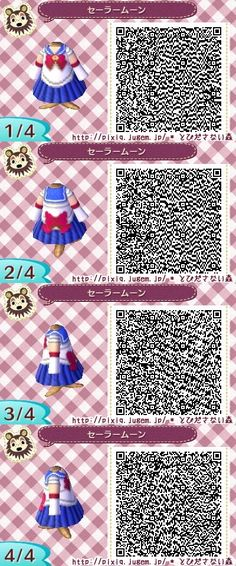 SAILOR MOON. ANIMAL CROSSING NEW LEAF. QR CODE. ACNL