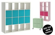 Collage of three KALLAX shelving units in different colours and sizes, white 4x4 with turquoise inserts, pink 4x2 with cerise inserts and pastel green 2x2 with pastel green inserts