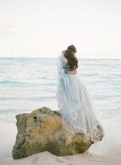 Dusty Blue Gown | Photography: Jemma Keech - jemmakeech.com Read More: http://www.stylemepretty.com/2014/12/16/bali-beach-engagement-session/