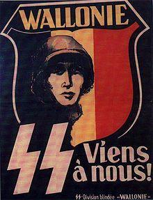 28e SS-Freiwilligen-Grenadier-Division Wallonie (01) La division SS Wallonie était composée de volontaires wallons. Elle est issue de la Légion Wallonie formée en août 1941 sous les auspices conjugués de Fernand Rouleau, bras droit de Léon Degrelle, de l'occupant (Kommandostab Z de l'administration militaire - Militärverwaltung) et du mouvement rexiste de Léon Degrelle.