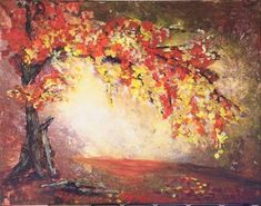 Autumn Wonder acrylic painting of an autumn tree by Goldstarwork, Artist Laura Wilson Acrylic Painting Trees, Simple Acrylic Paintings, Nature Paintings, Easy Paintings, Acrylic Art, Diy Painting, Landscape Paintings, Acrylic Painting For Beginners, Beginner Painting