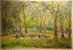 Bruno Zupan Chestnut Trees in Luxembourg Gardens Original Watercolor on Japan paper
