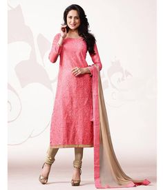 Naksh - Elegant Onion Pink And Beige Chanderi Silk Suit