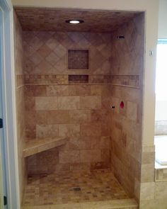 Perfect, Our shower/tub layout is just like this and I believe our shower size will be this big New Bathroom Ideas, Spa Like Bathroom, Bathroom Renos, Bathroom Layout, Bath Ideas, Bathroom Remodeling, Shower Ideas, Master Shower, Shower Tub