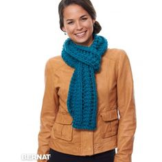 Easily knit in Bernat Wool-Up Bulky, this is a great scarf for effortless gifting! Hand Knit Scarf, Cowl Scarf, Knitting Patterns Free, Knit Patterns, Crochet Scarves, Knit Crochet, Mittens Pattern, Striped Scarves, Womens Scarves