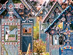 Săpânța, Romania - Cimitirul Vesel (Merry Cemetery) The colourful tombstone crosses describe with paintings and poems the live and death of the buried person Romanian Gypsy, Places Ive Been, Places To Go, Visit Romania, Travel 2017, Famous Castles, Central Europe, Wonderful Places, Travel Inspiration