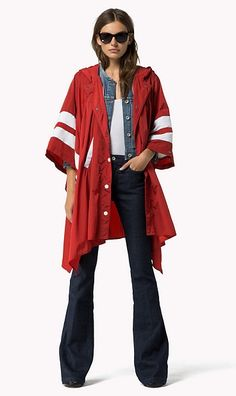 Tommy Hilfiger 5151 Nylon Poncho - salsa-pt (Red) . Taille  Large.