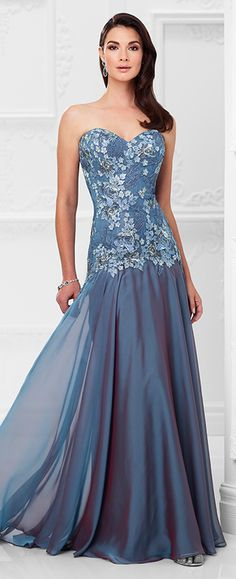 Strapless two-toned chiffon and lace slim A-line gown with sweetheart neckline, lace and hand-beaded bodice with dropped waist, softly gathered skirt, sweep train. Matching shawl and removable straps included.
