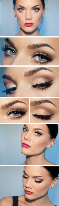 Thinner eyeliner and perhaps in dark brown, but the definition is great!