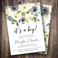 Baby Shower Invitation, Rustic Baby Shower, Boy Baby Shower Invite, It's a Boy Baby Shower, Boho Shower, Watercolor Floral in Navy, Green - Spotted Gum Design - Etsy