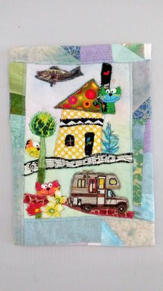 Whimsical Wall Hanging When Fish Fly Raw Edge Applique Wall Hanging Small Wall Hanging GIft for Her Gift for Him by Quiltwear on Etsy