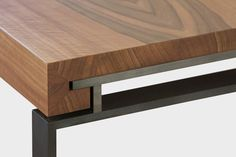 Detail of dining table in walnut & iron in gunmetal finish by Dessie, Italy Italians do it better!
