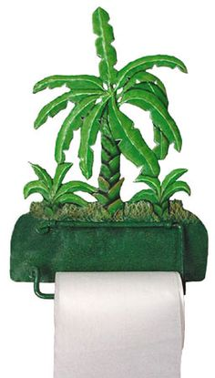 Painted Metal Toilet Paper Holder - Tropical Banana Tree Bathroom Decor - Painted Haitian Steel Drum Metal Art - Tropical Decor - More at www. Tropical Bathroom Decor, Tropical Home Decor, Tropical Kitchen, Art Tropical, Tropical Design, Metal Art, Painted Metal, Hand Painted, Black Christmas Tree Decorations