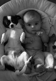 baby + puppy