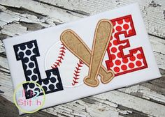 Baseball LOVE #3 Applique -- This will be great on a t-shirt or even a bag.