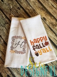 Decorative Fall Dish Towel Set By SewDesignful On Etsy