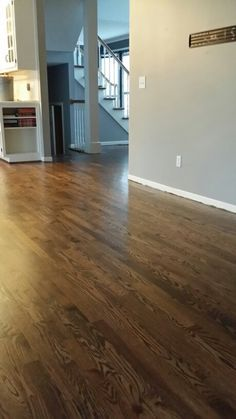 Minwax dark walnut duraseal with satin poly..on red oak