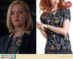 Robyn's hot air balloon printed top on The Good Wife.  Outfit Details: http://wornontv.net/36983/ #TheGoodWife