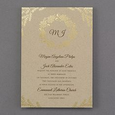 A gold foil oak leaf and acorn wreath on kraft paper makes this the perfect wedding invitation for your elegant autumn celebration. Your monogram adds a personal touch.
