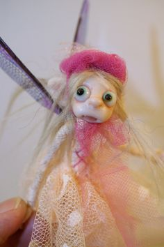 ooak poseable PEEKER PIXIE FAIRY w/ acorn hat ( #9)pixie elf polymer clay art doll by DinkyDarlings by DinkyDarlings on Etsy