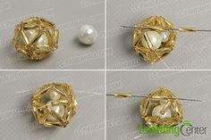 Decorate the beaded ball pendant with white pearl beads