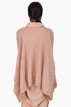 Rick Owens Beige Mohair Wrap Poncho Sweater for Women   SSENSE