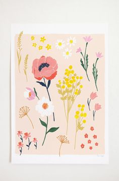 Floral Art Print, Gouache Painting by Lisa Rupp, on Etsy Art And Illustration, Gouache Illustrations, Floral Illustrations, Art Floral, Floral Print Design, Graphic Design, Posca Art, Peonies Garden, Guache