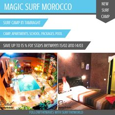 NEW SURF CAMP IN MOROCCO!  !!!Special offers available: Save up tp 15%!!! For reservations of a stay between 15/02 and 14/03:  Get more information on http://www.surf-the-world.com/surf-camp-agadir-tamraght-magic-surf-morocco