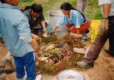 La pachamanca,  proviene de las voces quechuas pacha, tierra y manka, olla; por lo que su significado sería olla de tierra pero cabe precisar que en lengua aimara el término manca o mankha significa comida por lo que un significado alternativo también es comida de la tierra.