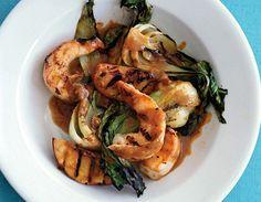 Grilled Shrimp Satay with Peaches and Bok Choy Recipe  at Epicurious.com