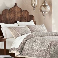 Taupe Block Print Bedding - VivaTerra - and look at that headboard! https://www.facebook.com/pages/Design-Architecture/335837139876068