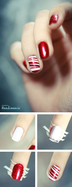 Nail art blanc et rouge, j'aime bien et pour ma part j'essairais en rose! ;)  Nail white and red art, I like and for my part I would try in pink!;)