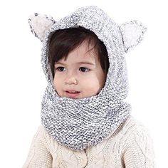 a52e1bc834736 Connectyle Boys Girls Kids Winter Hats Scarf Warm Woolen Earflap Hood Hat  Scarves with Ears Skull Caps
