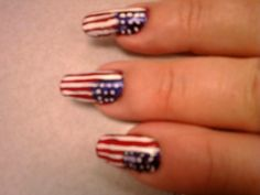 """I do my Flag Nails, a lot for the 4th, and other """"flag"""" holidays. Paint nail white first, let dry, add details, then clear coat."""