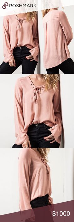 COMING This Week! Lace Up Bell Sleeve Top (Blush) Available in Blush, Sage and White.  Material: 70% Cotton, 30% Polyester. Wild Dreams Tops
