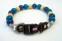 Blue and Turquoise Beaded Dog Collar Buckle by BeadieBabiez