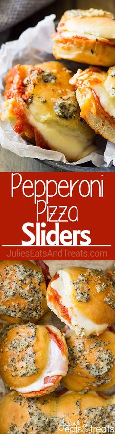Pepperoni Pizza Sliders ~ quick, easy and perfect for any night of the week, whether it be a game day appetizer, lunch or dinner!   julieseatsandtreats.com