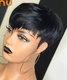 Short Relaxed Hairstyles, Cute Hairstyles For Short Hair, Wig Hairstyles, Curly Hair Styles, Short Quick Weave Hairstyles, Short 27 Piece Hairstyles, Pixie Cut With Bangs, Pixie Cut Wig, Wigs With Bangs