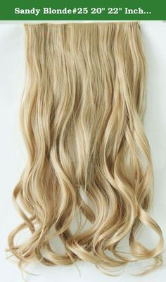 """Sandy Blonde#25 20"""" 22"""" Inch Long Curly Wavy Synthetic 3/4 Full Head One Piece Clip in on Hair Extensions Hair Piece NOT Human Hair Weight 110g. This is a curly/ straight, one piece clip in hair extension made from premium synthetic fibers. It looks and behaves just like human hair. There are five hair clips along the top for easy, secure and discreet attachment to your hair. You can fit them yourself in the mirror, and have them in and a new style ready to go in minutes. This item is…"""