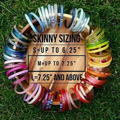 Color by Amber's Skinnies (& cuff) size chart. While our most preferred size is medium, it really depends on how loose you prefer to wear bangles. All skinnies are lightweight & most are flexible. Our Glassy & Ithemba skinnies are made with a harder type of ecoresin. Hope this helps! Please contact me with any questions @ heather.allen.young@gmail.com Browse & shop Skinnies here: https://heatheryoung.mycolorbyamber.com/shop/skinnies